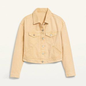 NEW Old Navy Cropped Pop-Color Jean Jacket